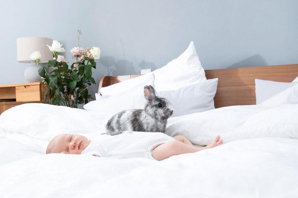 Baby auf weißem Bett mit Häschen | Wochenbett-Reportage by MIRIAM ELLERBRAKE